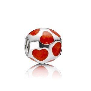Pandora Love You Enamel Retired Red Heart Charm